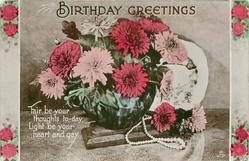 BIRTHDAY GREETINGS pink & red flowers in blue bowl, plate behind, pearls below
