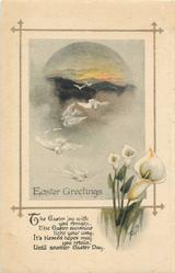 EASTER GREETINGS  doves & flowers