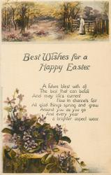 BEST WISHES FOR A HAPPY EASTER  woman by gate above, violets lower left