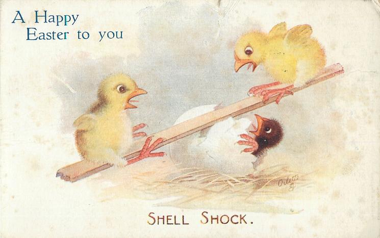 A HAPPY EASTER TO YOU  two chicks see-saw over an egg with horrified chick still in it