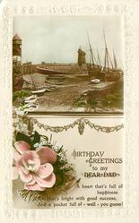 BIRTHDAY GREETINGS TO MY DEAR DAD untitled inset of Lynmouth harbour & Rhenish tower, pink flower below