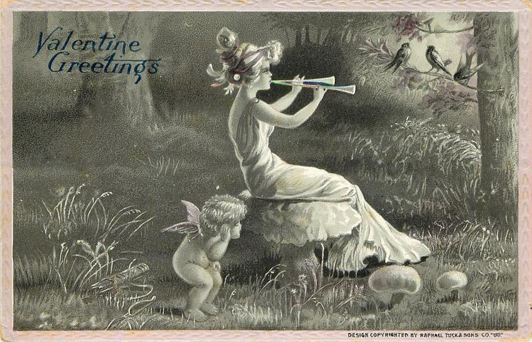 nymph sits on toadstool playing double pipes to birds, cupid listens behind