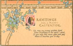 GREETINGS FOR A HAPPY EASTERTIDE  forget-me-nots