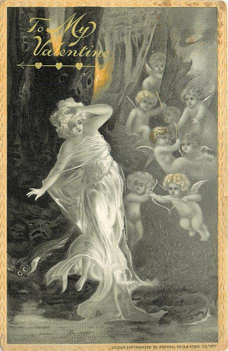 nymph in white flowing dress has left hand at brow, eight cherubs to her left float in air  yellow border