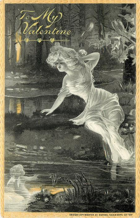 nymph in white flowing dress sits on bank of stream, looking at cherub beneath the water  yellow border