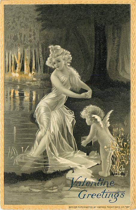 nymph in white flowing dress sits with feet in water forms circle with arms,cherub bows offering a box  yellow border