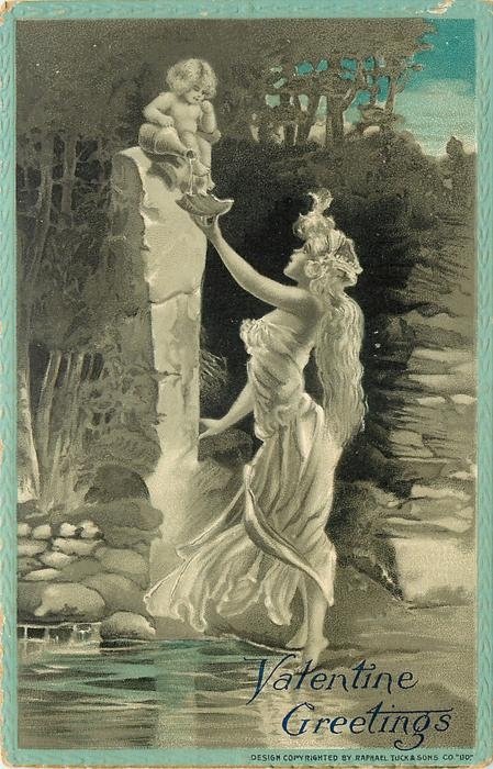 nymph in white flowing dress reaches up with shell for cherub on pedestal to fill  blue border