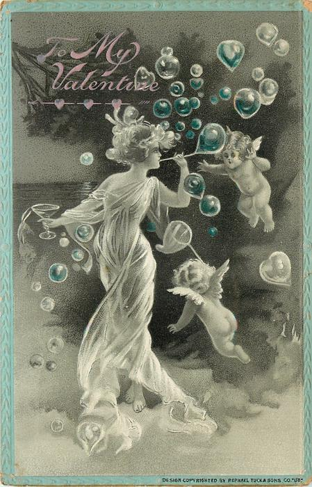 nymph in white flowing dress blows bubbles, two cherubs float in air with her  blue border