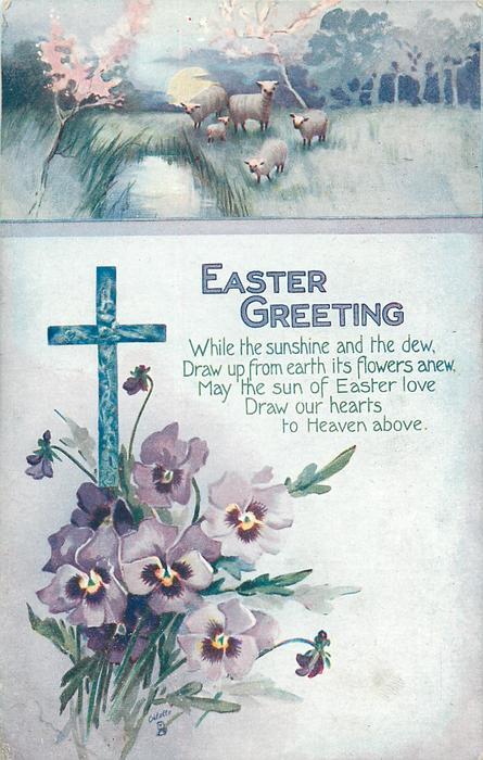 EASTER GREETING  sheep above cross & pansies