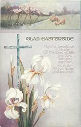 GLAD EASTERTIDE  sheep above cross & iris