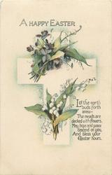 A HAPPY EASTER  violets, lilies-of -the-valley, cross