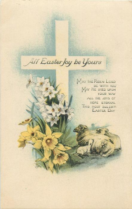 ALL EASTER JOY BE YOURS  sheep & daffodils