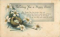 WISHING YOU A HAPPY EASTER  narcissi around nest of eggs