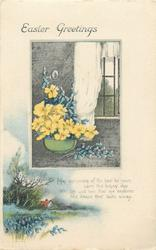 EASTER GREETINGS  bowl of daffodils & bluebells, rural scene below