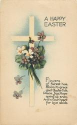 A HAPPY EASTER  violets & cross