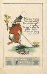 A HAPPY EASTER  rabbit carries daffodils, towing chick