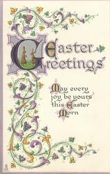 EASTER GREETINGS  ornate decorations round the words