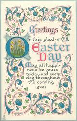 GREETINGS ON THIS GLAD EASTER DAY  ornate decorations round the words