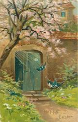 A HAPPY EASTER  swallows in front of blue door in wall, blossom above