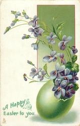 A HAPPY EASTER TO YOU  violets & green egg