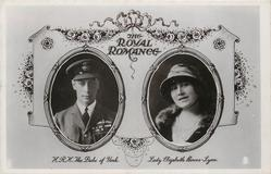 THE ROYAL ROMANCE, H.R.H. THE DUKE OF YORK and LADY ELIZABETH BOWES-LYON inset portraits