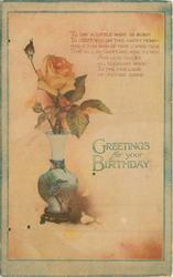 GREETINGS FOR YOUR BIRTHDAY rose in vase decorated with kingfisher