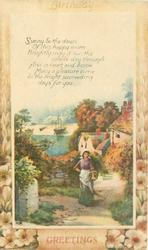 BIRTHDAY GREETINGS coastal inset, girl & cottages