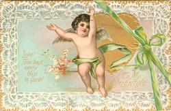 LOVE! THOU HAST EVERY BLISS IN STORE!  TO MY VALENTINE  cupid almost w/o clothes in front of heart, green bow & ribbon