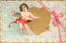 SWEETHEART  YOUR NAME ACROSS MY HEART IS WRIT!  cupid almost w/o clothes left of heart, pink bow & ribbon
