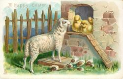 A HAPPY EASTER  sheep and chicks, pussy-willow below