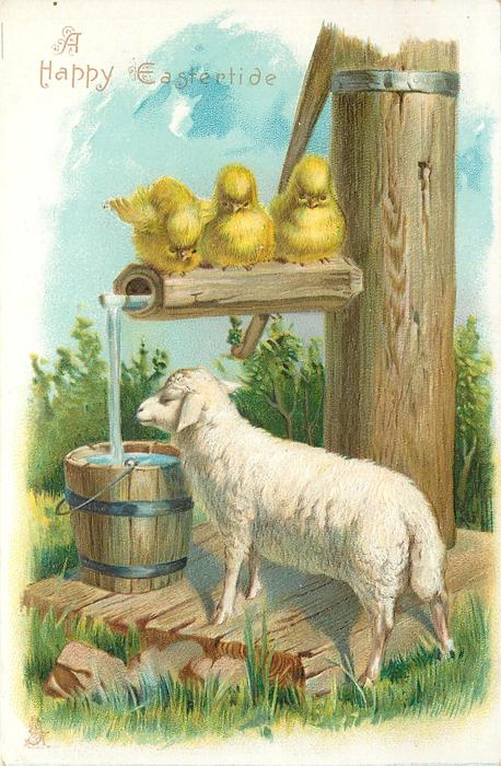 A HAPPY EASTERTIDE  three chicks on spout look down at sheep at water barrel