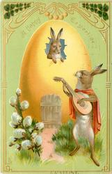 A HAPPY EASTERTIDE  rabbit plays lute  to one looking out of window in yellow egg/house