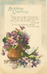 BIRTHDAY GREETINGS violets in copper pot