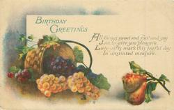 BIRTHDAY GREETINGS basket, grapes & pears