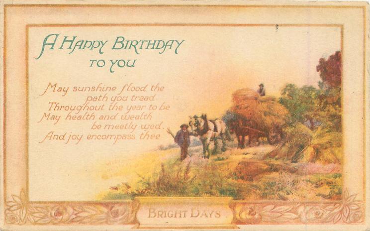 BRIGHT DAYS A HAPPY BIRTHDAY TO YOU harvest scene