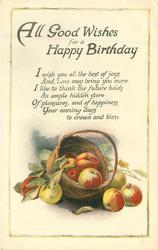 ALL GOOD WISHES FOR A HAPPY BIRTHDAY basket of apples