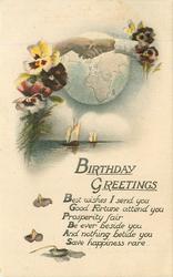 BIRTHDAY GREETINGS  hands across globe, pansies, seascape