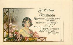 BIRTHDAY  GREETINGS    girl, rural scene, pansies