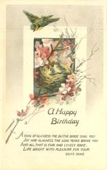 A HAPPY BIRTHDAY bird flies over nest in blossom tree