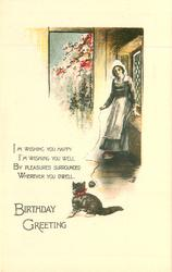 BIRTHDAY GREETING woman plays with kitten, cottage, flowers