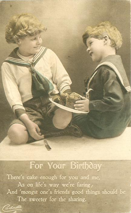 FOR YOU BIRTHDAY two boys in sailor outfits share cake from  plate between them