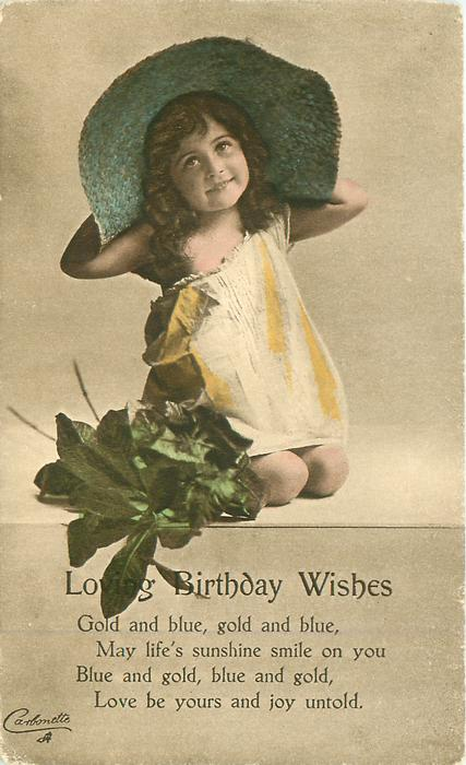 Loving Birthday Wishes Young Girl In Large Green Hat Tuckdb Postcards