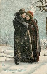MY HEART'S DELIGHT  couple snuggle close under his fur coat