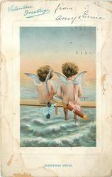 VALENTINE GREETING  WHISPERING WAVES  two cupids side by side on plank facing away to sea