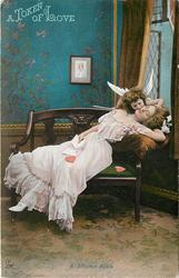 A TOKEN OF LOVE   A STOLEN KISS  cupid kisses sleeping girl who holds a valentine