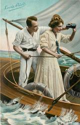 LOVE'S PILOT  couple on sailing boat, standing, he hands her binoculars