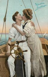 MY VALENTINE  couple on sailing boat, they kiss