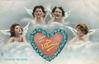 TO MY VALENTINE  SONGS OF THE HEART  four angels over red inscribed heart with floral border