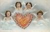 VALENTINE GREETINGS  ON MISCHIEF BENT  four angels over red inscribed heart with floral border