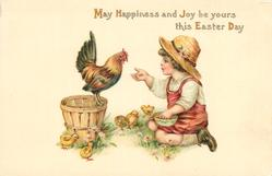 MAY HAPPINESS AND JOY BE YOURS THIS EASTER DAY  child holds out food for hen, chicks around